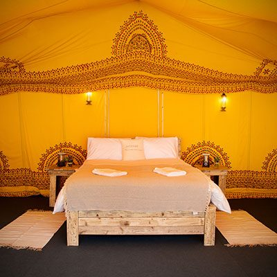 An Indian themed Frame Tent at The Retreat, Glastonbury Glamping accommodation