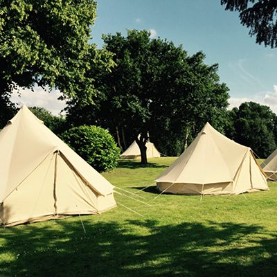 Bell Tents in the glamping field at The Retreat, Pilton - luxury glamping accommodation for Glastonbury Festival 2019