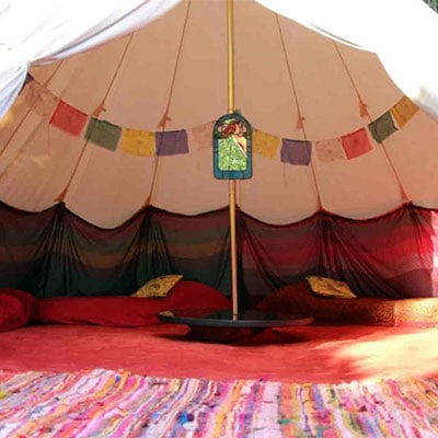 The interior of a beautiful Tipi ten for hire for Glastonbury 2019