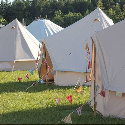 Bell Tents in a glamping field near Glastonbury Festival