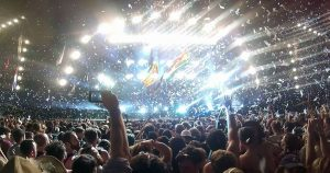 Taken from the crowd as Coldplay headline Glastonbury, reach for the lasers. The lights are bright in this one.