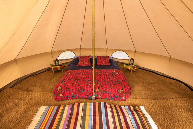 Two guest bell tent interior