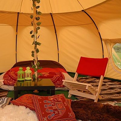 The interior of a Lotus Belle tent