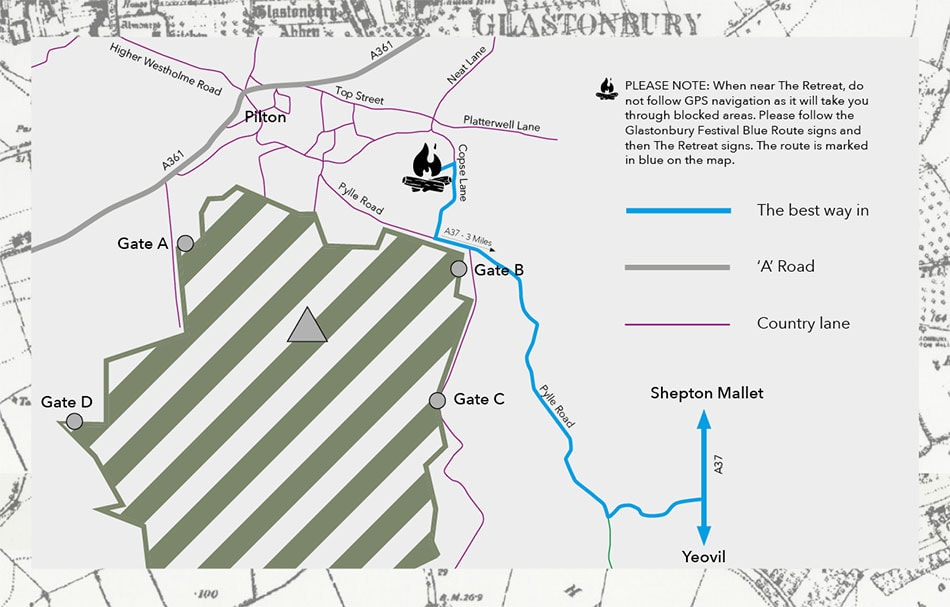 Map to show where The Retreat Glamping site is located next to gate B of the Glastonbury Festival