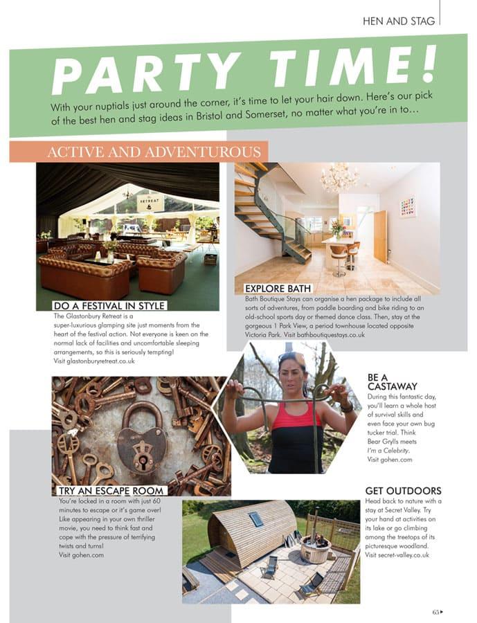 Your Bristol Somerset Wedding Magazine press coverage for Glastonbury Retreat