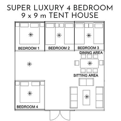 4 Bedroom Tent House 9 x 9 metre luxury Glamping for Glastonbury festival