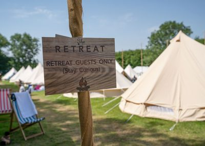 The private glamping area at The Retreat