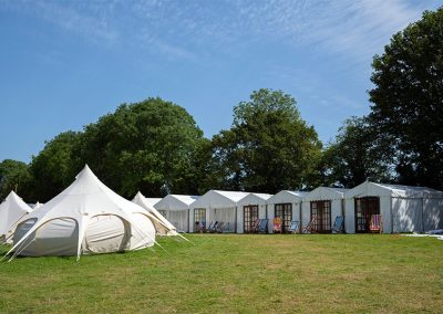 The glamping site with Bell Tents, Lotus Belles and Safari Tents
