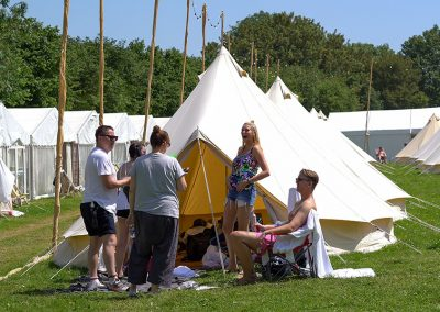 Guests enjoying a mini Bell Tent party