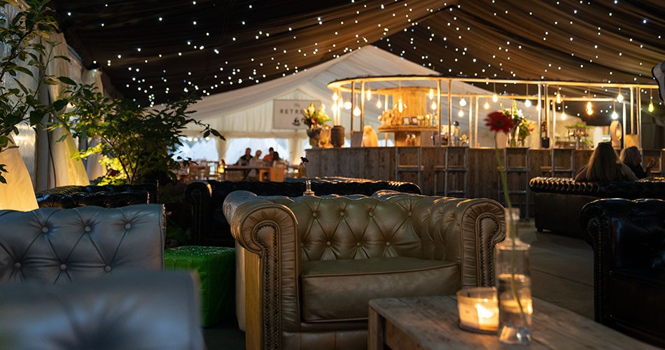 Chesterfield sofas at The Glastonbury Retreat lounge bar