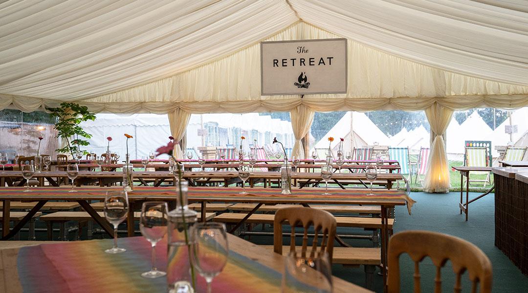 The restaurant at The Glastonbury Retreat