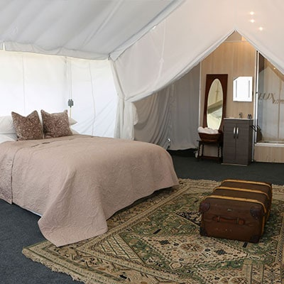 Deluxe En-suite Safari tent for glamping at Glastonbury Festival