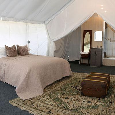 Deluxe En-suite Safari tent for glamping at Glastonbury Festival