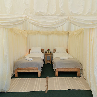 Twin room in Tent house for Glamping at Glastonbury Festival