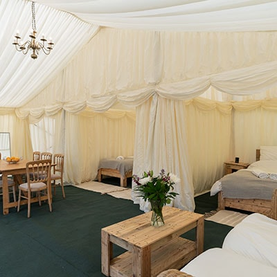 3 bedroom tent house available at The Glastonbury Retreat for glamping at Glastonbury Festival