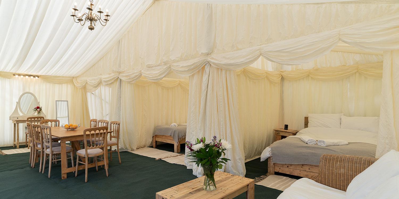 Luxury 4 bedroom tent house for glamping at Glastonbury Festival